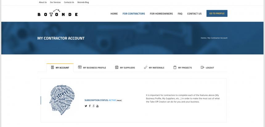 "Botonde ""My Contractor Account"" page"